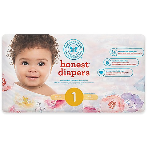 Honest 44-Pack Size 1 Diapers in Rose Blossom Pattern