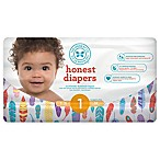 Honest 44-Pack Size 1 Diapers in Painted Feathers Pattern