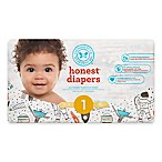 Honest 44-Pack Size 1 Diapers in Space Traveling Pattern