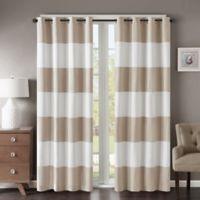 Regency Heights® Parker Stripe 95-Inch Grommet Top Window Curtain Panel in Khaki