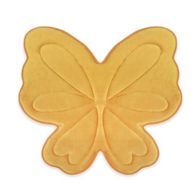 Laura Ashley Butterfly Memory Foam 30 Inch X 30 Inch Bath Rug In Yellow