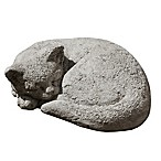 Campania Small Curled Call Cat Garden Statue in Greystone