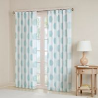Madison Park Yakima 63-Inch Rod Pocket/Back Tab Window Curtain Panel in White/Aqua