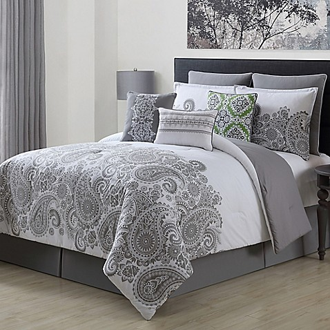 Mona 9 Piece Comforter Set In Grey