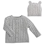 Elegant Baby® Size 6M 2-Piece Classic Cable Knit Sweater and Hat with Ears Set in Grey