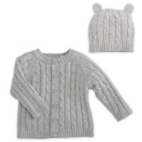 Elegant Baby® Size 12M 2-Piece Classic Cable Knit Sweater and Hat with Ears Set in Grey