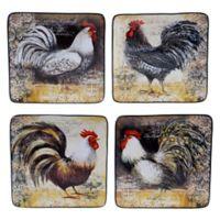 Certified International Vintage Rooster Dessert Plates (Set of 4)