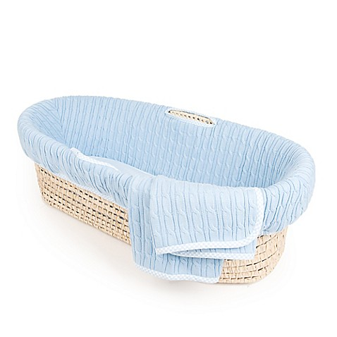 tadpolesbaby blue cable knit moses basket bed bath beyond. Black Bedroom Furniture Sets. Home Design Ideas