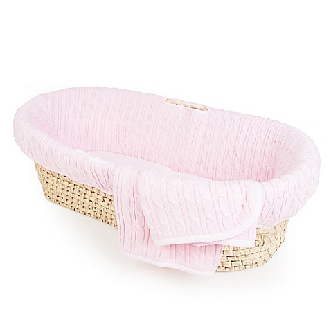 tadpolesbaby pink cable knit moses basket bed bath beyond. Black Bedroom Furniture Sets. Home Design Ideas