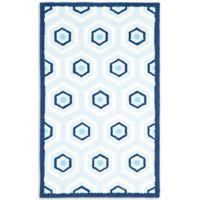 Safavieh Kids 3-Foot x 5-Foot Hexagon Print Area Rug in Blue/Ivory