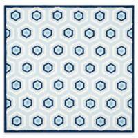 Safavieh Kids 6-Foot Square Hexagon Print Area Rug in Blue/Ivory