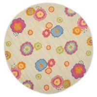 Safavieh Kids® Flower Print 6-Foot Round Area Rug in Light Green