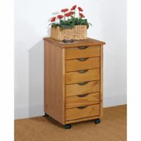 Adeptus 6-Drawer Roller Cart in Pine