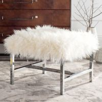 Safavieh Horace Faux White Sheepskin Bench in Polished Chrome