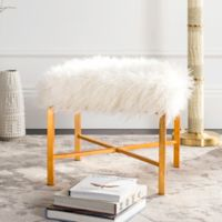 Safavieh Horace Faux White Sheepskin Bench in Gold Foil