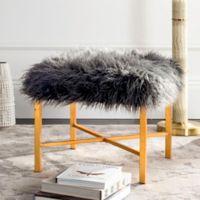 Safavieh Horace Faux Grey Sheepskin Bench in Gold Foil