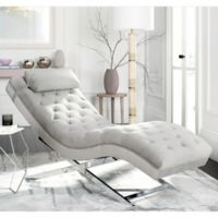 Safavieh Monroe Chaise in Grey with Round Pillow