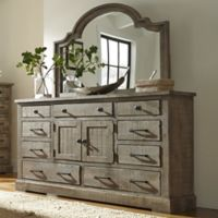 Meadow Door Dresser And Mirror in Grey