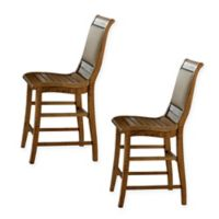 Willow Upholstered Counter Dining Chairs in Distressed Pine (Set of 2)
