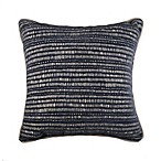 Manuscript Square Throw Pillow in Navy