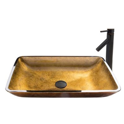 vigo copper glass rectangular vessel sink and dior faucet set in antique rubbed bronze - Bronze Bathroom Faucet