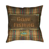 Laural Home® Gone Fishing Square Throw Pillow in Beige