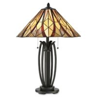 Quoizel® Victory 2-Light 25-Inch Table Lamp in Bronze with Glass Shade