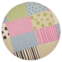 Safavieh Kids® Dots Stripes and Patches 6-Foot Round Area Rug in Blue/Pink