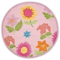 Safavieh Kids® Floral 4-Foot Round Accent Rug in Pink