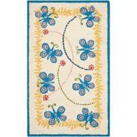 Safavieh Kids® Butterfly 3-Foot x 5-Foot Area Rug in Ivory/Blue