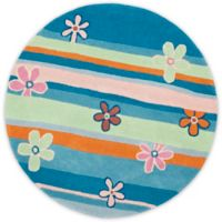 Safavieh Kids® Daisy Stripes 6-Foot Round Area Rug in Blue/Multi