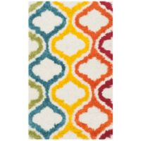 Safavieh Kids® Border Trellis 2-Foot 3-Inch x 5-Foot Shag Area Rug in Ivory/Multi