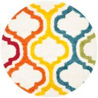 Safavieh Kids® Border Trellis 6-Foot 7-Inch Round Shag Area Rug in Ivory/Multi