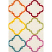 Safavieh Kids® Trellis 5-Foot 3-Inch x 7-Foot 6-Inch Shag Area Rug in Ivory/Multi