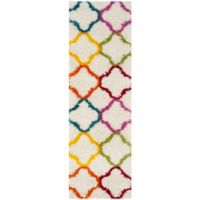 Safavieh Kids® Trellis 2-Foot 3-Inch x 7-Foot Shag Runner in Ivory/Multi