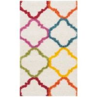 Safavieh Kids® Trellis 4-Foot x 6-Foot Shag Area Rug in Ivory/Multi