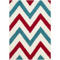 Safavieh Kids® 4-Foot x 6-Foot Chevron Shag Area Rug in Ivory/Red