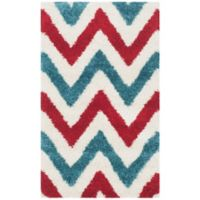 Safavieh Kids® 3-Foot x 5-Foot Chevron Shag Accent Rug in Ivory/Red