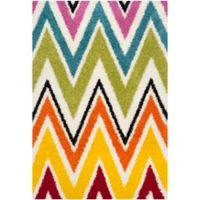 Safavieh Kids® Rainbow Zigzag 5-Foot 3-Inch x 7-Foot 6-Inch Shag Area Rug in Ivory/Multi