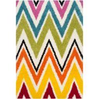 Safavieh Kids® Rainbow Zigzag 5-Foot 3-Inch x 7-Foot 6-Inch Shag Area Rug in Ivory/Multi