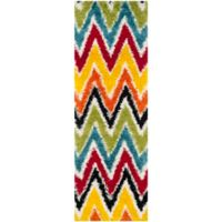 Safavieh Kids® Rainbow Zigzag 2-Foot 3-Inch x 7-Foot Shag Runner in Ivory/Multi