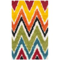 Safavieh Kids® Rainbow Zigzag 3-Foot x 5-Foot Shag Area Rug in Ivory/Multi