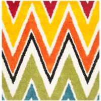 Safavieh Kids® Rainbow Zigzag 6-Foot 7-Inch Square Shag Area Rug in Ivory/Multi