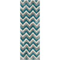 Safavieh Kids® Zigzag 2-Foot 3-Inch x 7-Foot Shag Runner in Ivory/Blue