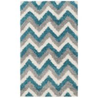 Safavieh Kids® Zigzag 3-Foot x 5-Foot Shag Area Rug in Ivory/Blue