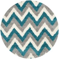 Safavieh Kids® Zigzag 6-Foot 7-Inch Round Shag Area Rug in Ivory/Blue
