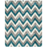 Safavieh Kids® Zigzag 8-Foot 6-Inch x 12-Foot Shag Area Rug in Ivory/Blue