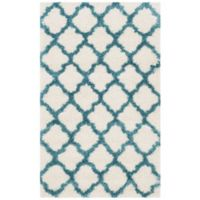 Safavieh Kids® Trellis Sketch 2-Foot 3-Inch x 5-Foot Shag Area Rug in Ivory/Blue