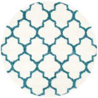Safavieh Kids® Trellis Sketch 6-Foot 7-Inch Round Shag Area Rug in Ivory/Blue