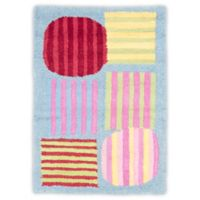 Safavieh Kids Striped Shapes 2-Foot x 3-Foot Accent Rug in Blue/Multi